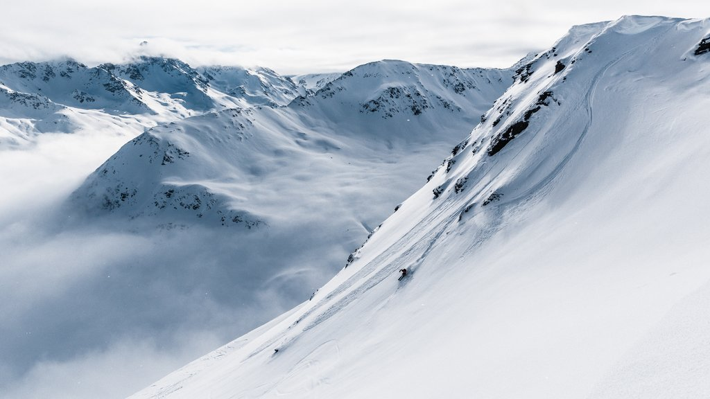 Freeriders love the deep-snow powder runs on the Jakobshorn in Davos Klosters, Switzerland.