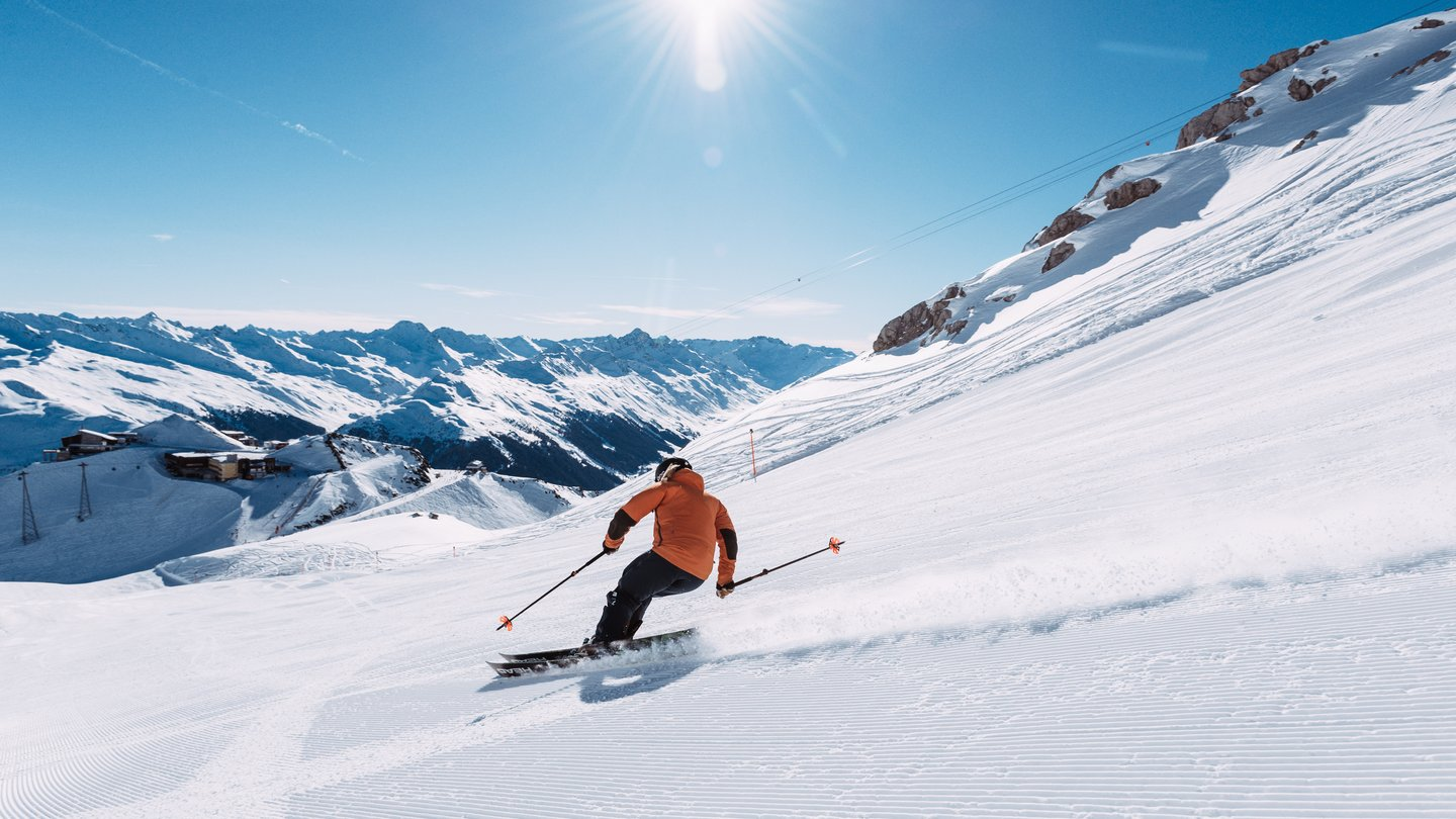 The Parsenn ski area in Davos Klosters, Switzerland, is famous for its long descents and wide slopes.