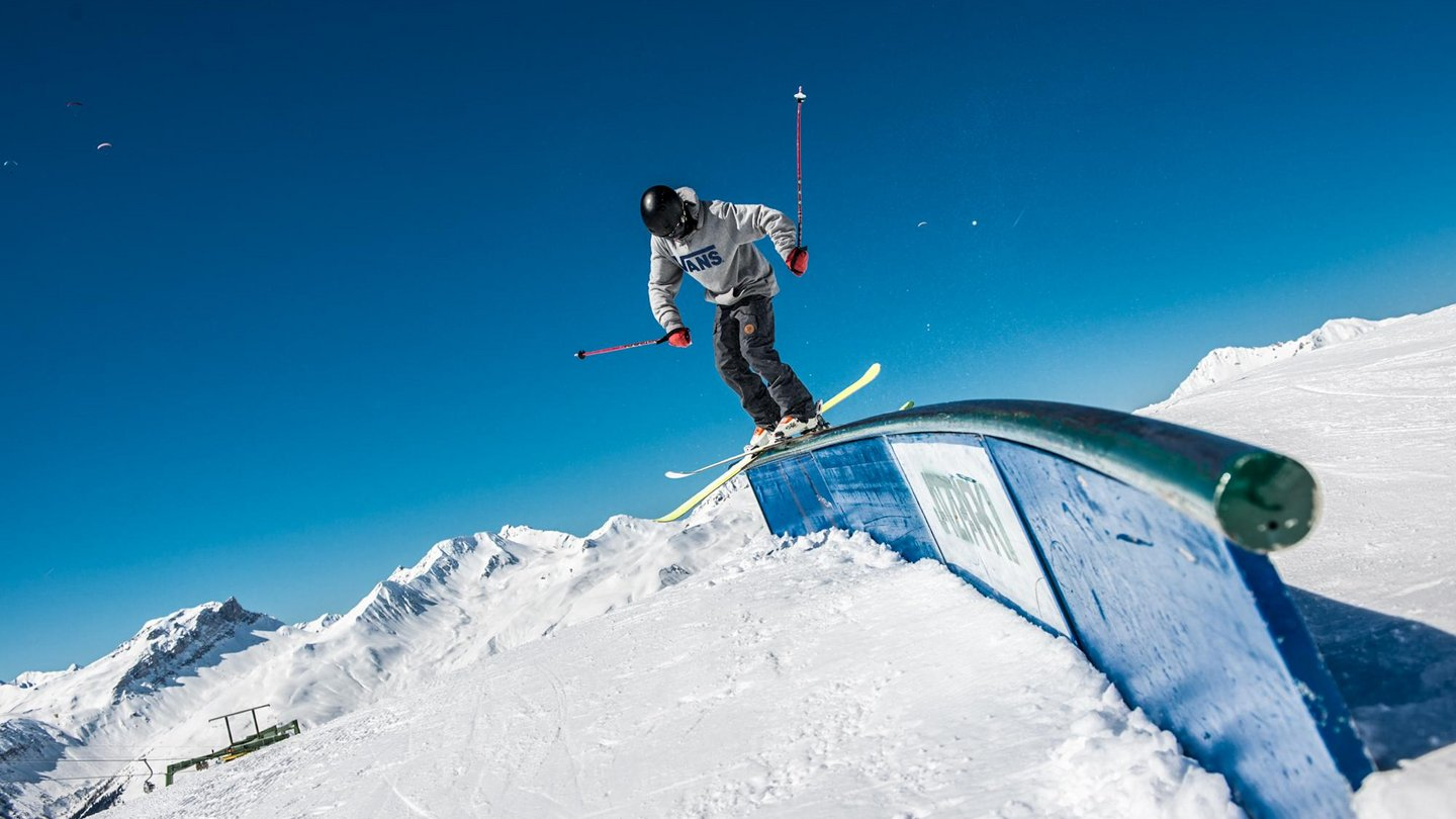 The JatzPark at Jakobshorn in Davos Klosters, Switzerland, provides freestyle action for freeskiers and snowboarders with its rails and kickers.