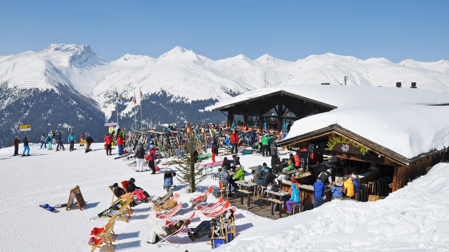 The Rinerhorn ski area in Davos Klosters, Switzerland, offers 49 kilometres of prepared pistes for wide carving turns and cosy mountain huts.